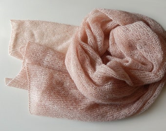 Knitted kid-mohair scarf tea rose knitted lace scarf, dusty rose scarf women's scarf beige mohair peach scarf knitted wrap, gift for her