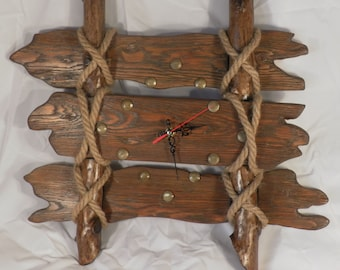 Old Fence wooden wall clock, Rustic, Clock of distressed wood