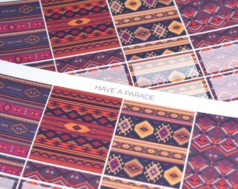 16 Navajo / Tribal Patterned Decorative and Functional Stickers for your Erin Condren Life Planner