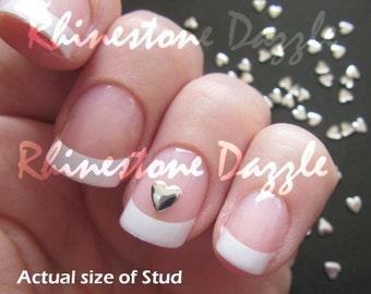 4mm silver heart nail studs, 3D nail design, nail art, silver hearts, metal studs, silver nail art, metal hearts, nail decoration