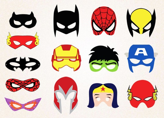 14 x Superhero Masks Clipart /Spiderman Mask/Batman