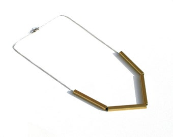 Brass Bar Necklace Vintage Gold