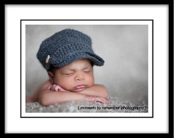 Newborn Boy Newsboy Hat - Visor - Baseball Cap - Grey