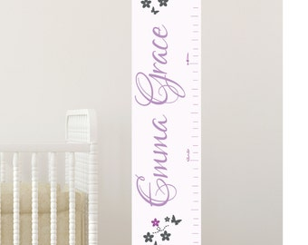 Personalized Growth chart girls room personalized growth chart birch trees with birds large size