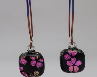 Pink flower cherry blossom flower dichroic fused glass dangle earrings Hypo-allergenic anodized pink purple almond long niobium ear wires