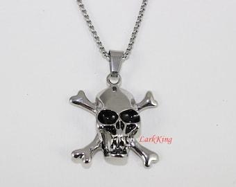 Pirate necklace, skull necklace, skeleton necklace, stainless steel pirate skull necklace, skull pendant, steel skull, skull jewelry, NE7021