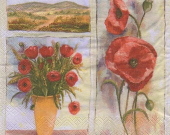 3269 lot 5 paper bouquet of poppies