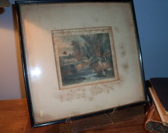 Antique Framed Print Hunting English Countryside Dogs