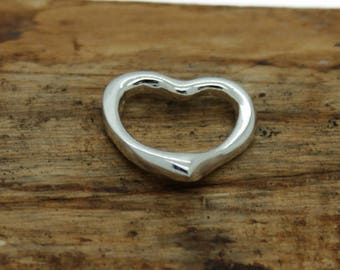 """Sterling Silver Single Open Heart Pendant with  18"""" chain  (M11)"""