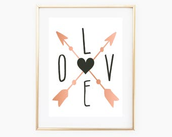 Love Arrow Wall Art, Love Arrow Printable, Love Decor, Digital Print, Digital Download Art, Love Art, Wall Print, Love Nursery, Love Art