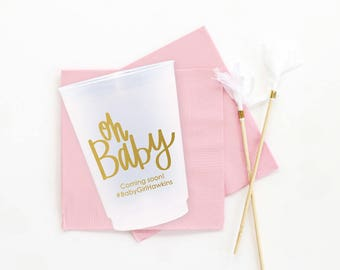 Baby Shower Cups Personalized Oh Baby Frosted Cups Girl Baby Shower Decorations Custom Gender Reveal Cups Girl Shower Ideas  Party Supplies