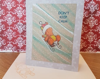 Christmas Card - sledging orange Dragon - greeting card, snowflakes, mouse