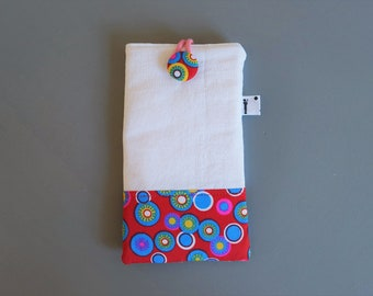 Touch wadded phone cover, 3 fabric blend, button front closure, perfect for Galaxy, Iphone, Xperia Z