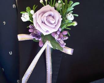 Violet boutonniere,  Purple boutonniere,  Lavender boutonniere