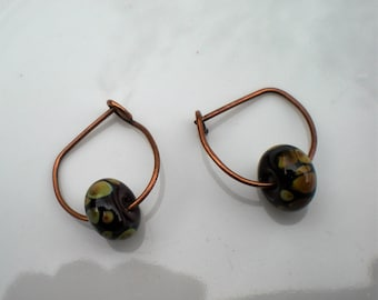 Handmade Oxidized Pure Copper Earrings with Lampwork Beads