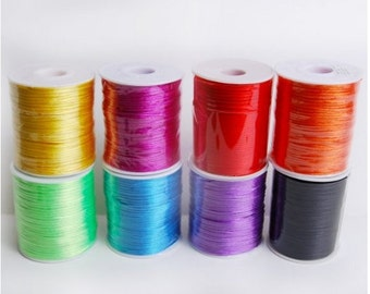 ASSORTED COLORS 2mm x 100 yards Rattail Satin Nylon Trim Cord Chinese Knot