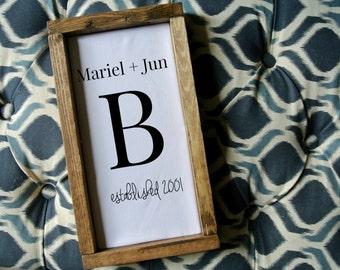 Family Name wood Art, Mr&Mrs Art, Personalized Sign, Family wood frame, Rustic frame, Rustic Frame, Wedding Gift, 2nd Anniversary gift