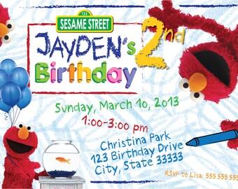 Elmo's World Customizable Birthday Invitation, digital printable file