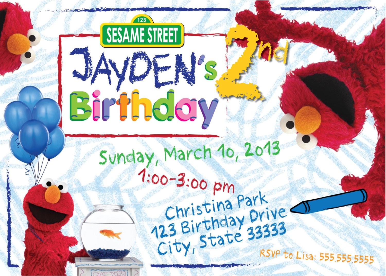 Elmo\'s World Customizable Birthday Invitation digital
