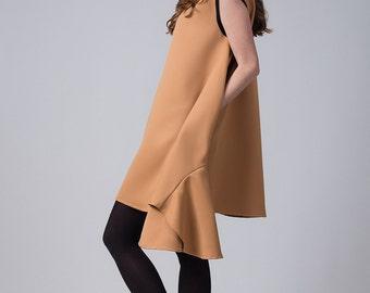 Yellow frill dress / Asymmetric woman's dress / Sleeveless knee length dress / Fashion yellow elegant dress / Fasada 17002