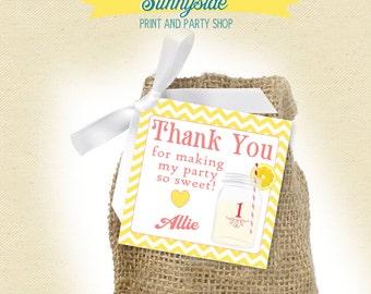 Pink Lemonade Birthday Favor Tag with Mason Jar // Printable Square // First birthday or any age