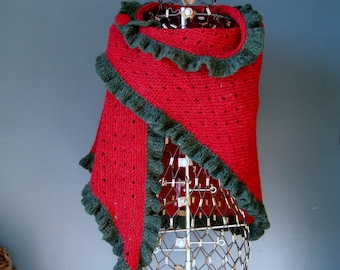 Red Wool Shawl with Green Ruffle