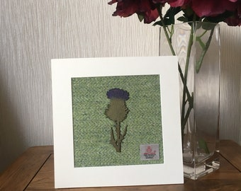 "Harris Tweed in Green Herringbone with hand crafted Thistle 8""x8"" picture art"