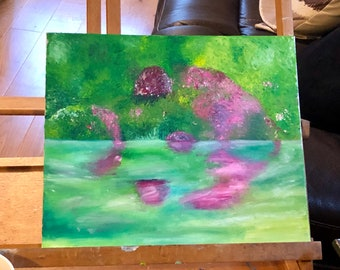 """Painting - """"Sheffield Park reflections """" original oil painting"""