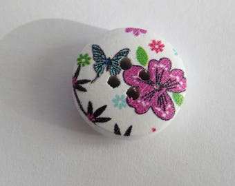 Round floral and Butterfly wood button