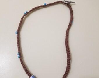 Blue Beaded Macrame Necklace