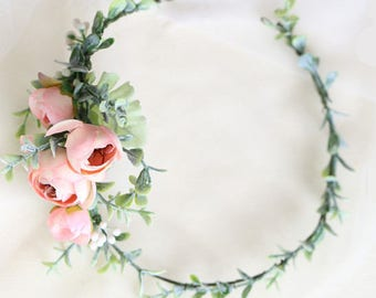 Flower Crown / Mia Ranunculus Peony Silk Flower / Pink Hair Vein // Wedding / Prom / Bridesmaids / Flower girl / Baby / Adult