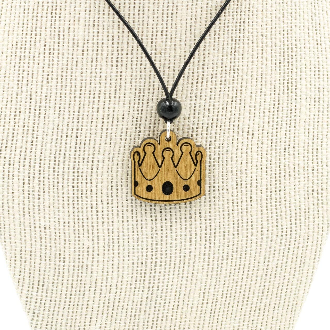 Crown emoji necklace royal emoji charm king emoji queen description wooden crown engraved emoji biocorpaavc Gallery
