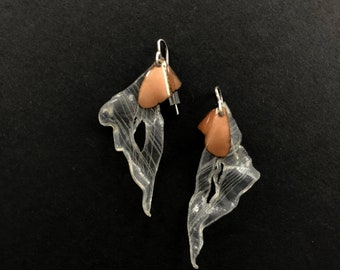 Lentz reclaimed - Copper & Recycled Polymer Earrings - polymer and copper earrings
