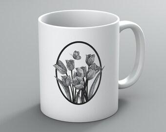 Lily Mug, Flower Mug, Pen and Ink Art Mug, Coffee Mug, Gift Mug