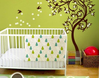 "Baby Nursery Wall Decals - Blossom Tree Decal - Tree Wall Decal - Tree Wall Decals - Tree Wall Decal with Birds - Large: 85"" x 54"" - KC030"
