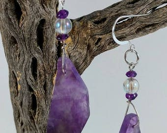 Amethyst Earrings With Amethyst Beads