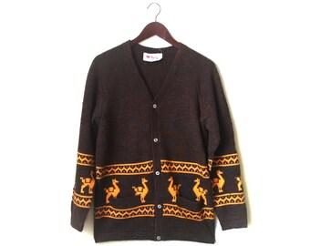 Vintage 1970s alpaca wool cardigan sweater