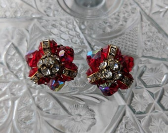 Red Iridescent & Rhinestone Clip On Earrings