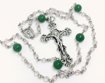 Lutheran Prayer Beads — Jade and Pale Amethyst — 5 Decades