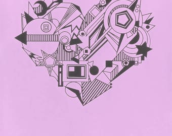 Heart geometric art print A4 love wall decor digital wedding anniversary Valentines day romantic artwork gift for her wall art free shipping