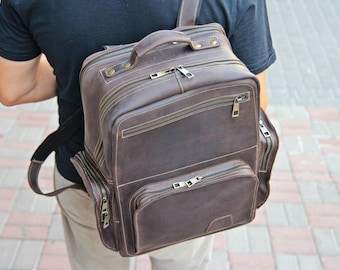Leather Backpack Men-Waxed Leather Backpack-Coffee Brown Leather Laptop backpack - Leather Rucksack -  Gift for Him - Personalized