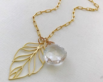 Quartz Briolette Leaf Accent Necklace