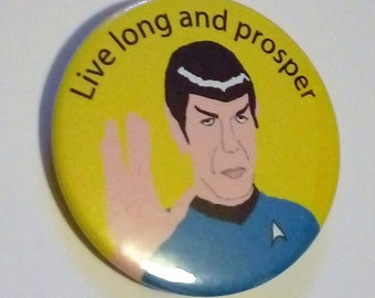 Star Trek 45mm Spock pinback vulcan button badge pin badges live long and prosper