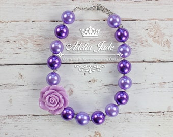 Chunky Baby Necklace, Lavender Purple Chunky Necklace, Chunky Bubblegum Necklace, Rose Bubble Gum Children Necklace Baby Jewelry