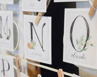 Custom Alphabet Botanical Cards- DIGITAL FILES ONLY