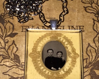 Victorian Gem Tintype Photo Pendant with Original Paper Frame Children Oddities