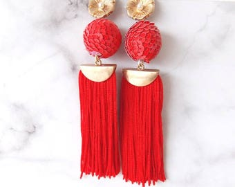 Red Sequin Disco Ball Tassel Statement Earrings