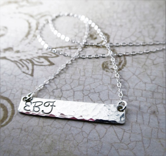 Silver Bar Necklace | Monogram Necklace | Personalized Sterling Silver Jewelry | Engraved Name | Handstamped Name | Custom Jewelry