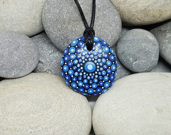 Blue Painted Stone Necklace - Paint Rock - Mandala Rock - Dot Jewelry - Mandala Art - Hand-Painted Pendant Stone - Chakra