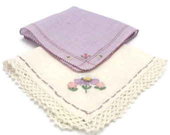 Purple And Pink Crochet Edge Floral Embroidered Hankies Set Of Two